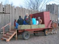 People sitting on the wagon