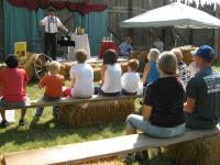 Magician talking to audience