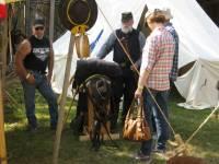 reenactor talking to visitors