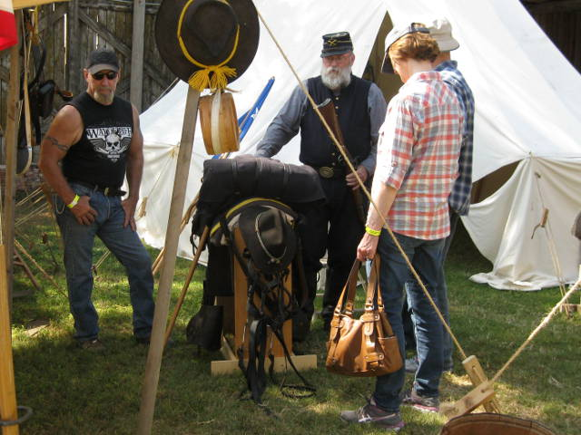 reenactor talking to visitors
