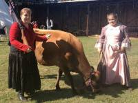 two girls with cow