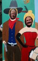 photo board with two men