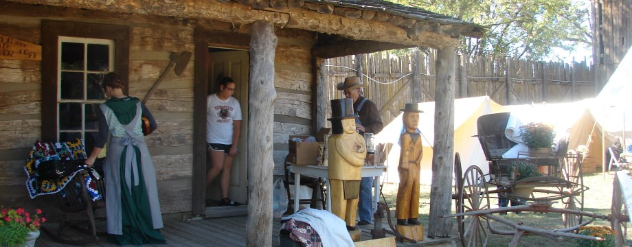 group on log cabin porch